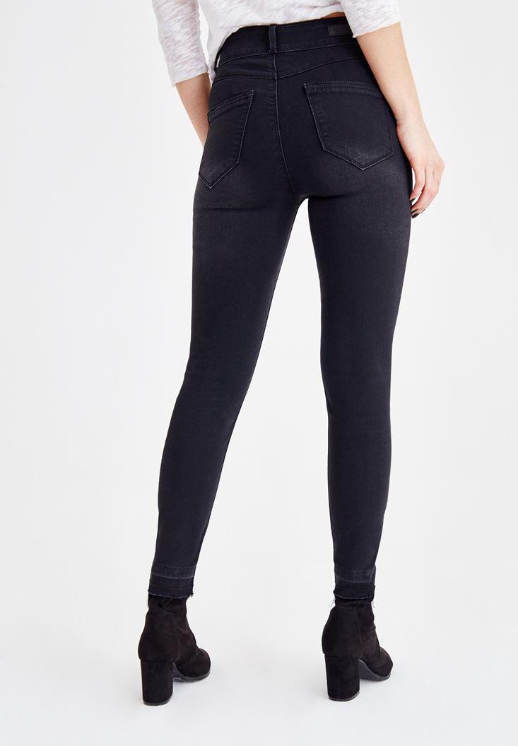 Bayan Siyah Yüksek Bel Dar Paça Çift Düğme Detaylı Pantolon