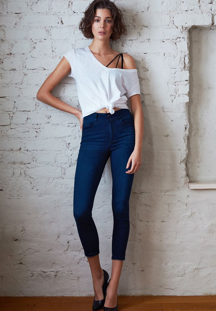 Blue High Rise Skinny Jeans with Details