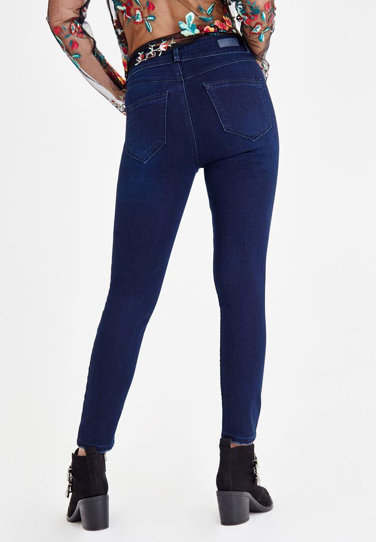 Bayan Mavi Yüksek Bel Dar Paça Çift Düğme Detaylı Pantolon