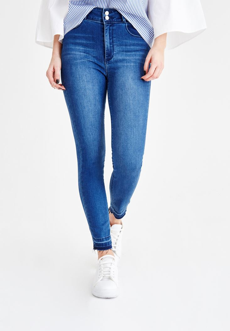 Lacivert Yüksek Bel Dar Paça Çift Düğme Detaylı Pantolon