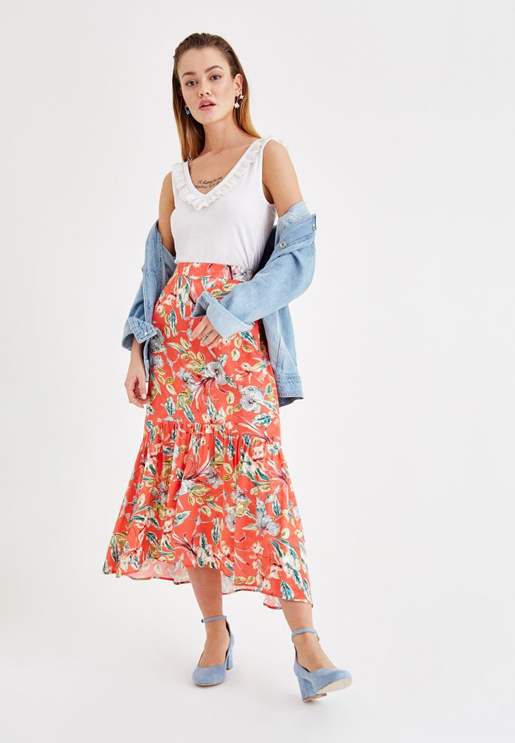 Mixed Flower Printed Skirt