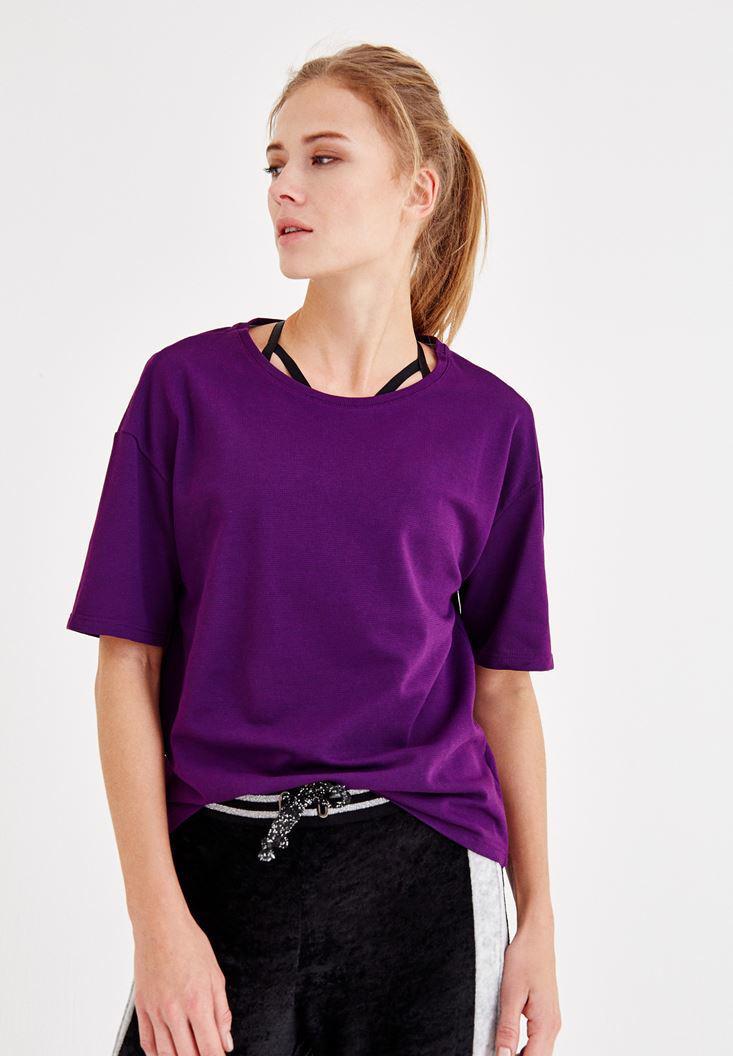 Bayan Mor Sırt Detaylı Yarım Kollu Tişört