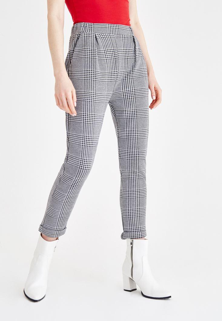 Çok Renkli Kazayağı Örme Pantolon