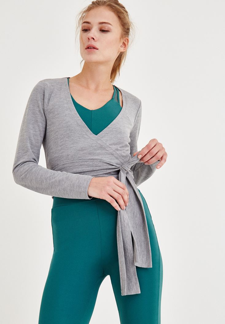 Grey Double Breasted Blouse with Cord Details