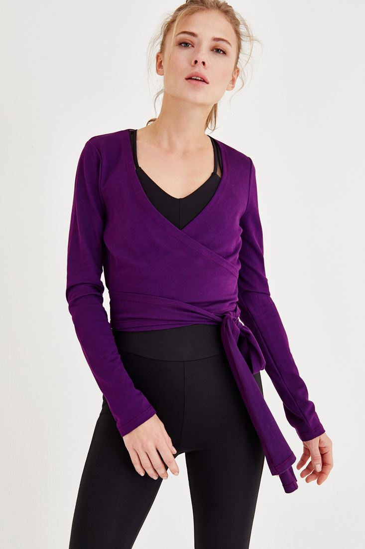 Purple Double Breasted Blouse with Cord Details