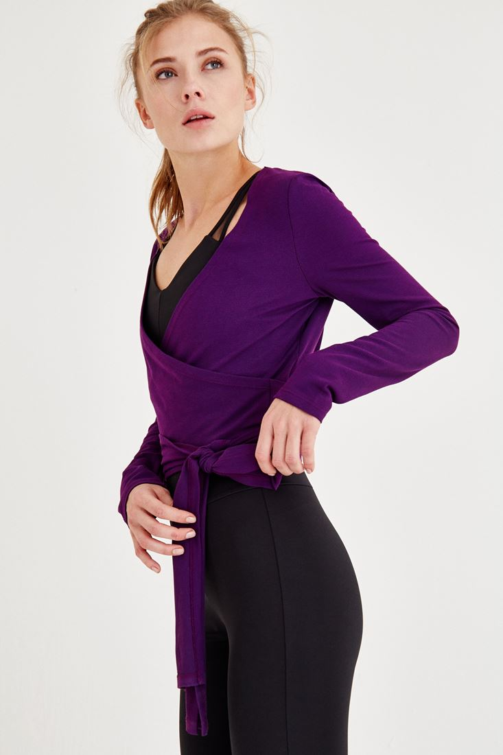 Bayan Mor Bağlama Detaylı Kruvaze Bluz