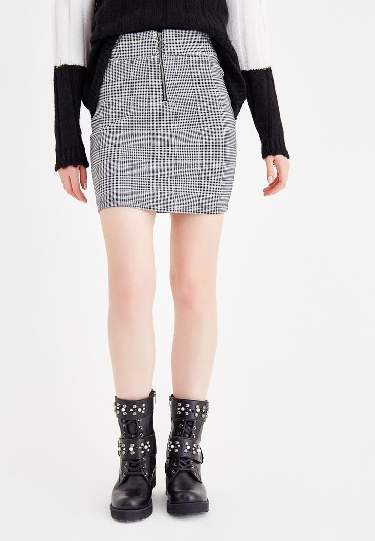 Mixed Check Skirt With Zip Detail
