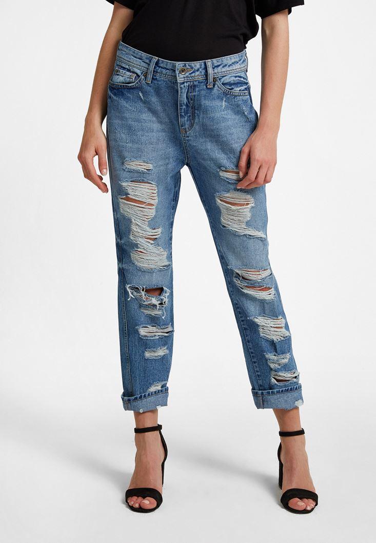 Blue Low Rise Damaged Boyfriend Jeans