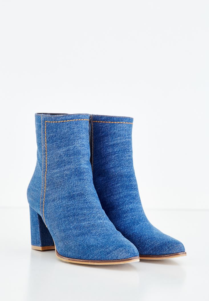 Blue High Heel Jean Ankle Boot