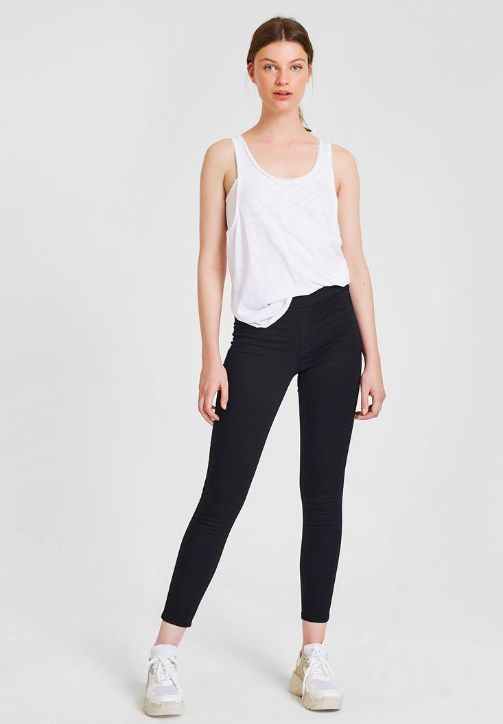 Siyah Düşük Bel Detaylı Tayt Pantolon
