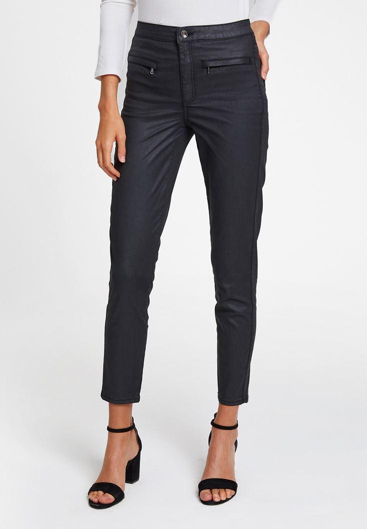 Siyah Dar Paça Fermuar Detaylı Pantolon