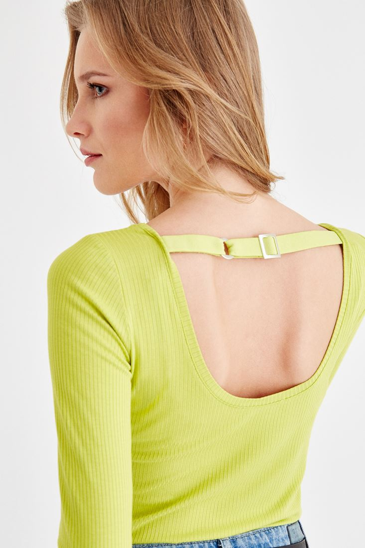 Green Long Sleeve T-Shirt with Back Details