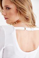 Bayan Beyaz Sırt Detaylı Uzun Kollu Tişört