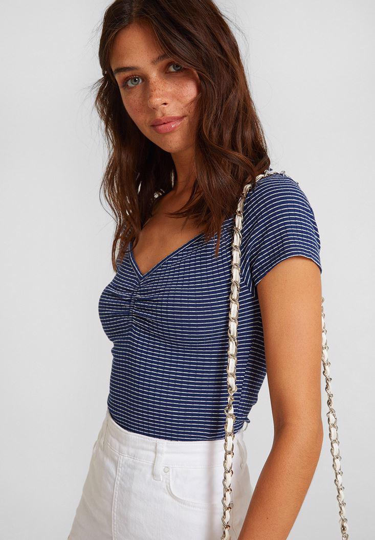 Women Mixed Striped T-shirt with Neck Details