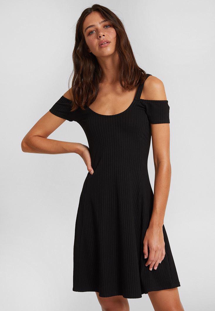 Bayan Siyah Omuz Detaylı Kısa Elbise