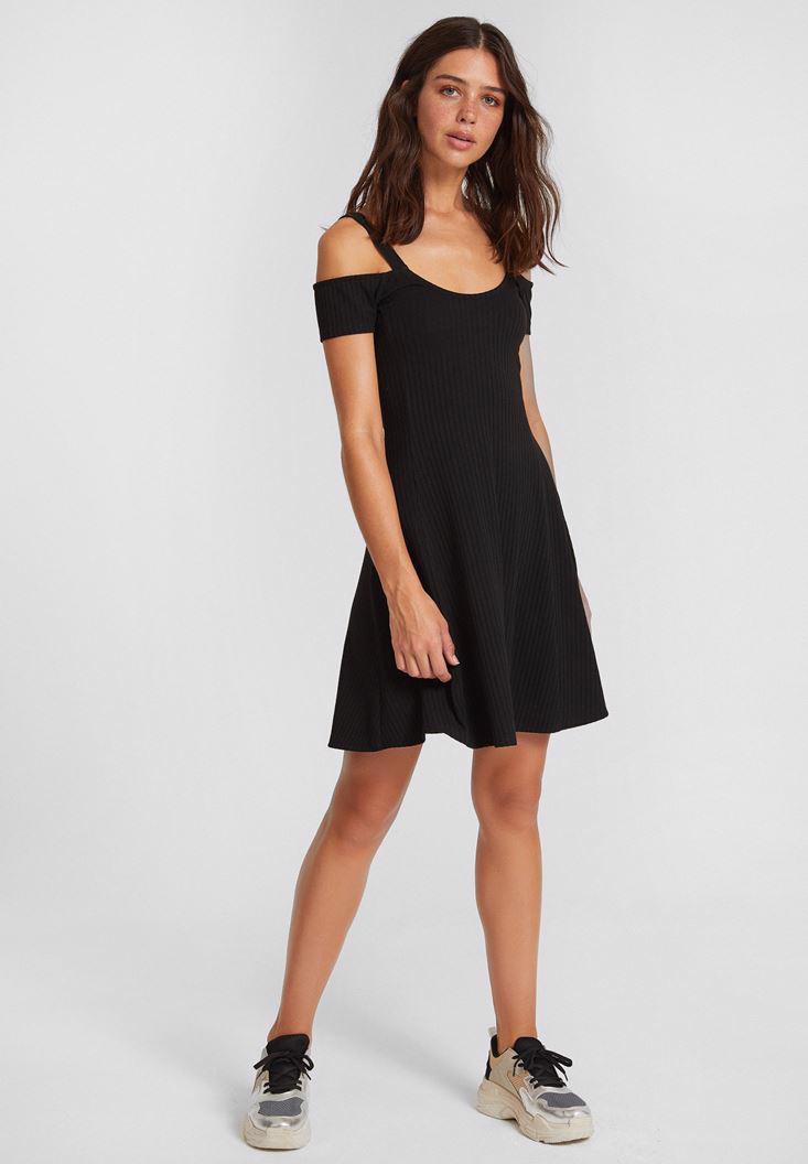 Women Black Dress with Shoulder Details