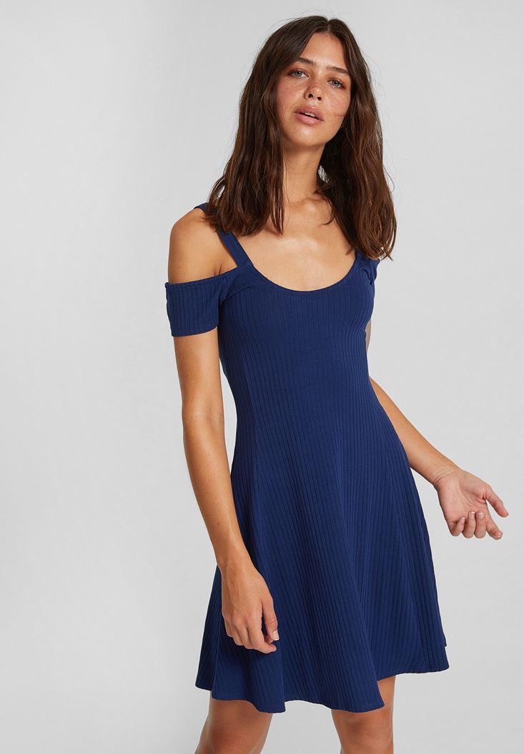 Lacivert Omuz Detaylı Kısa Elbise