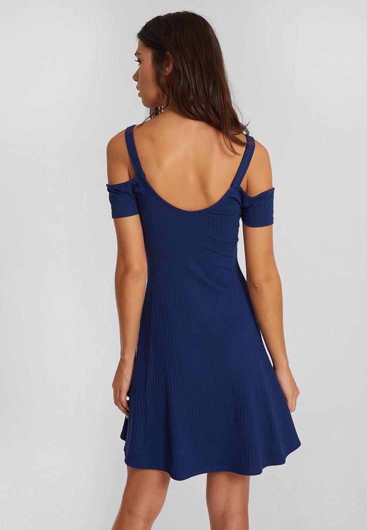 Bayan Lacivert Omuz Detaylı Kısa Elbise