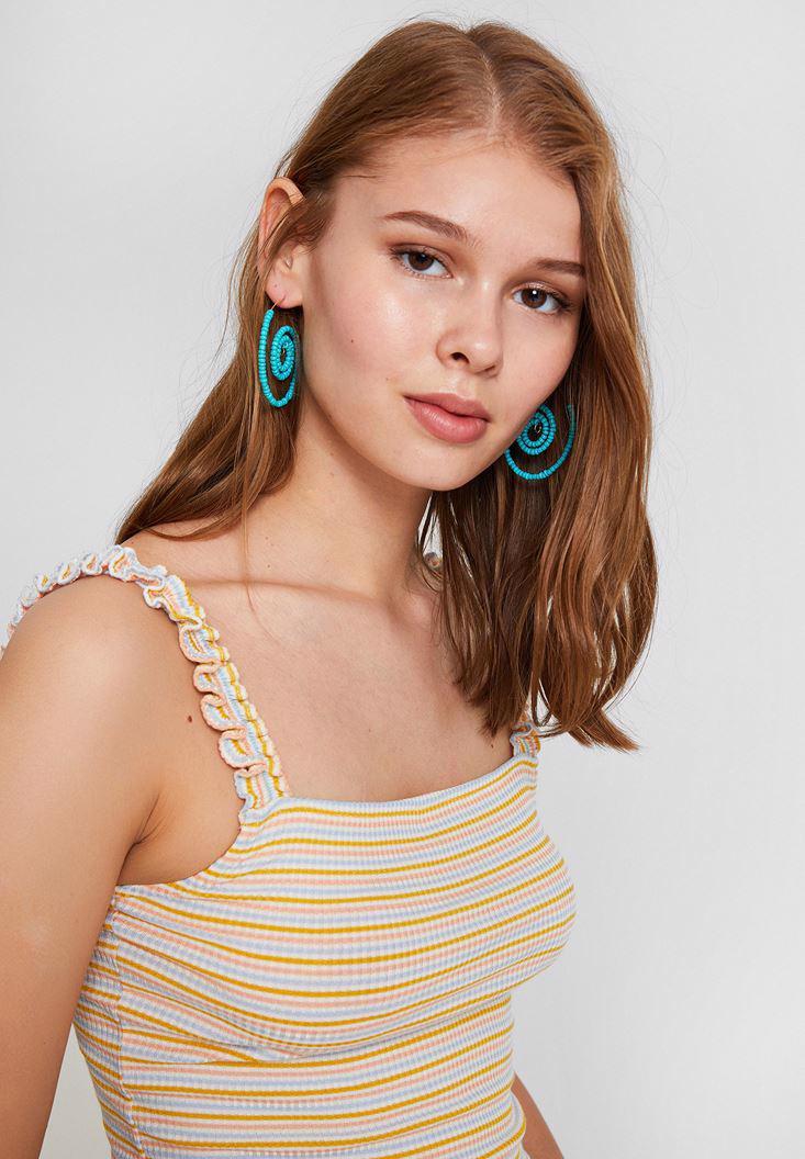 Bayan Çok Renkli Fır Fır Askılı Çizgili Bluz