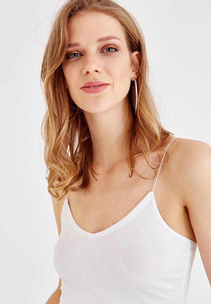 Women White Athlete with V Neck Details