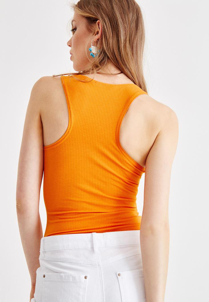 Women Orange U Neck Athlete