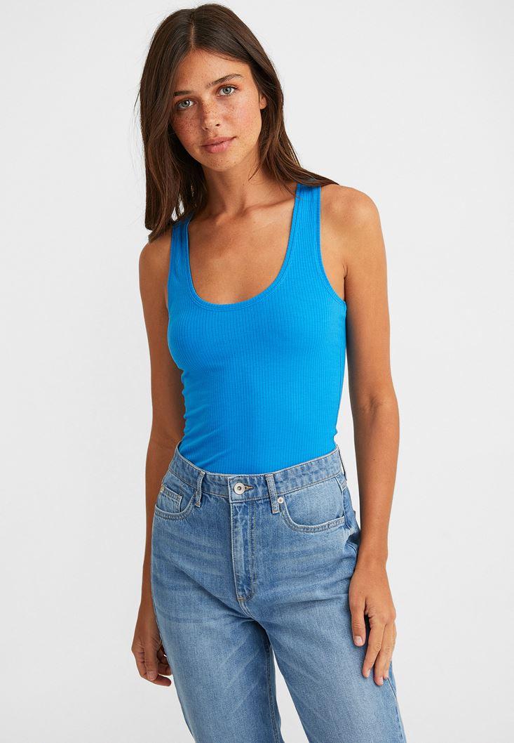 Mavi U Yaka Kalın Askılı Bluz