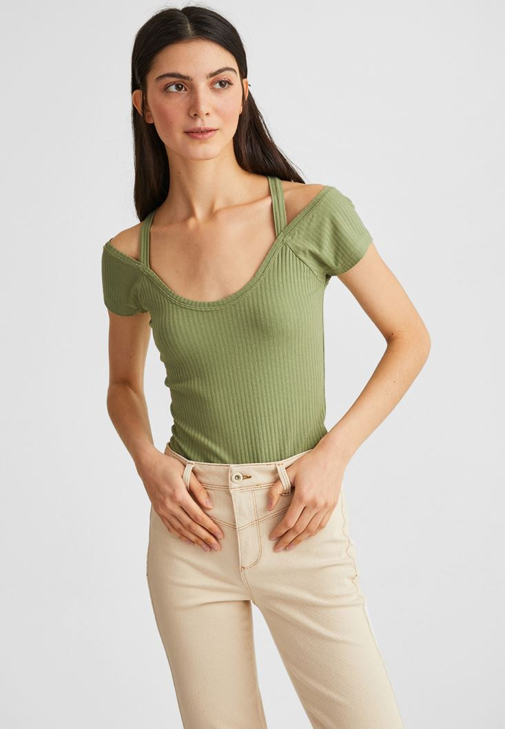 Green T-shirt with Cross Binding