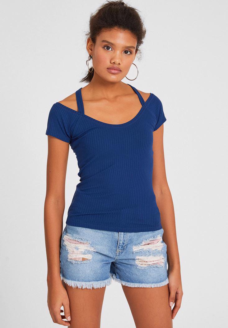Bayan Lacivert Sırtı Biye Detaylı Tişört