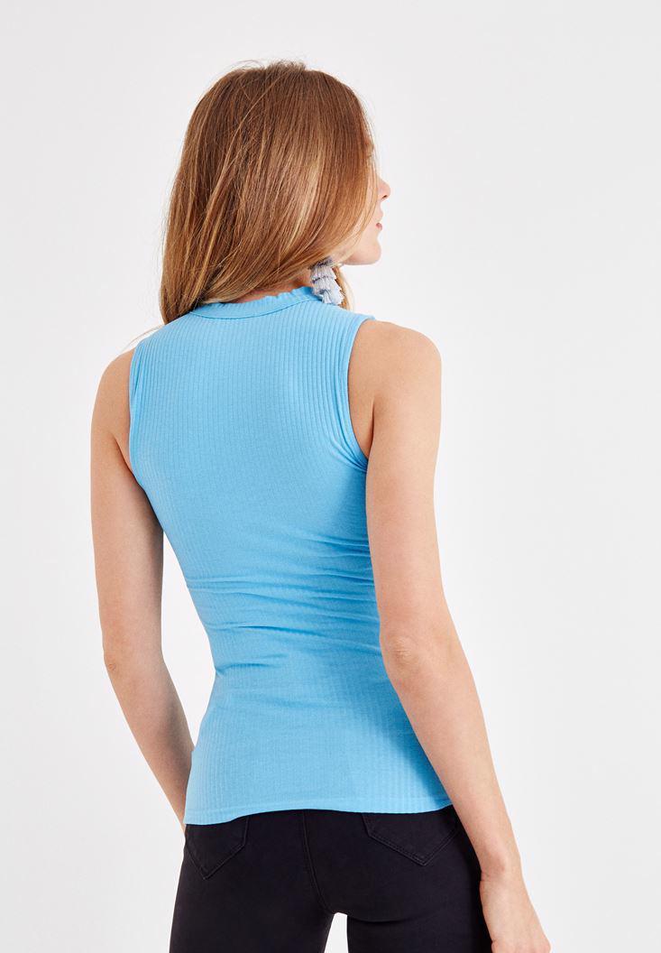 Women Blue V Neck Athlete with Choker Details