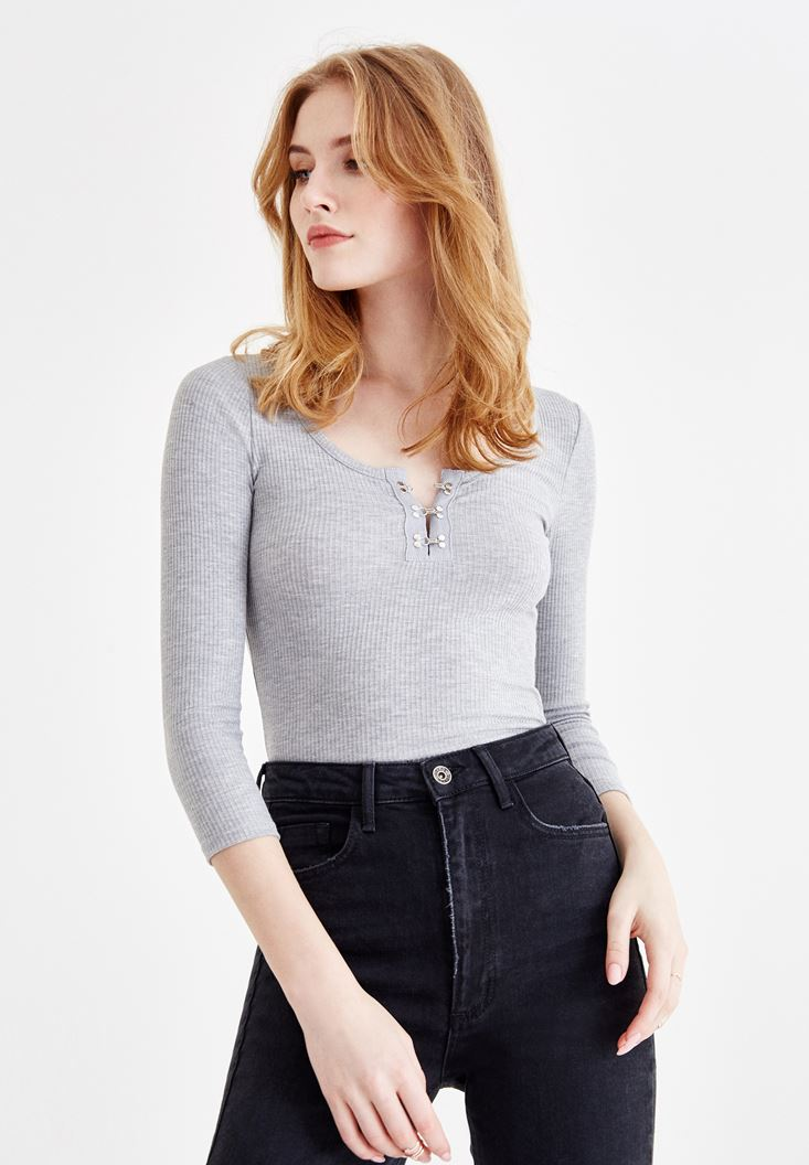 Grey T-Shirt with Neck Buttons
