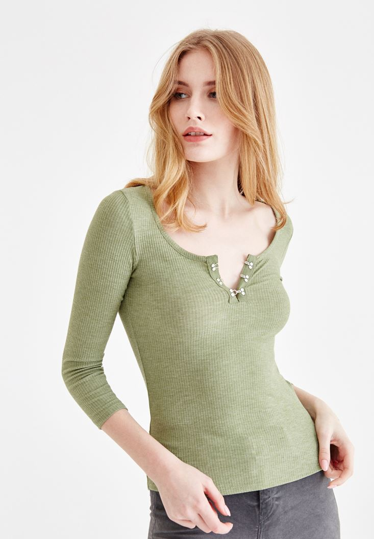 Green T-Shirt with Neck Buttons