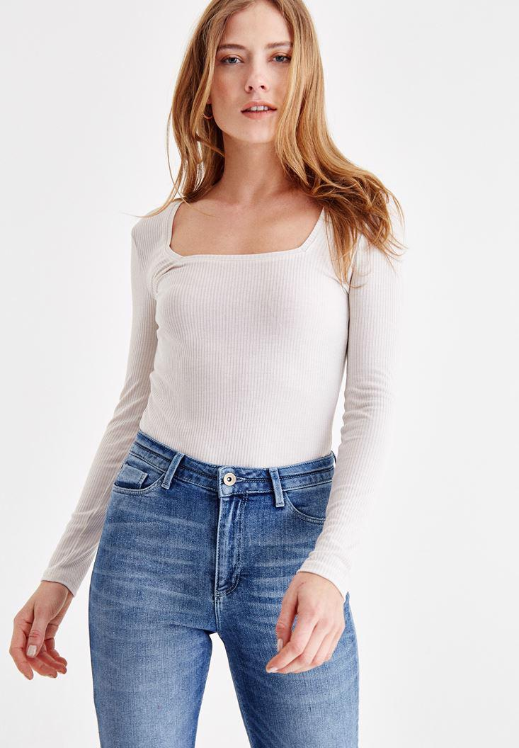 Bayan Krem Kare Yaka Uzun Kollu Tişört