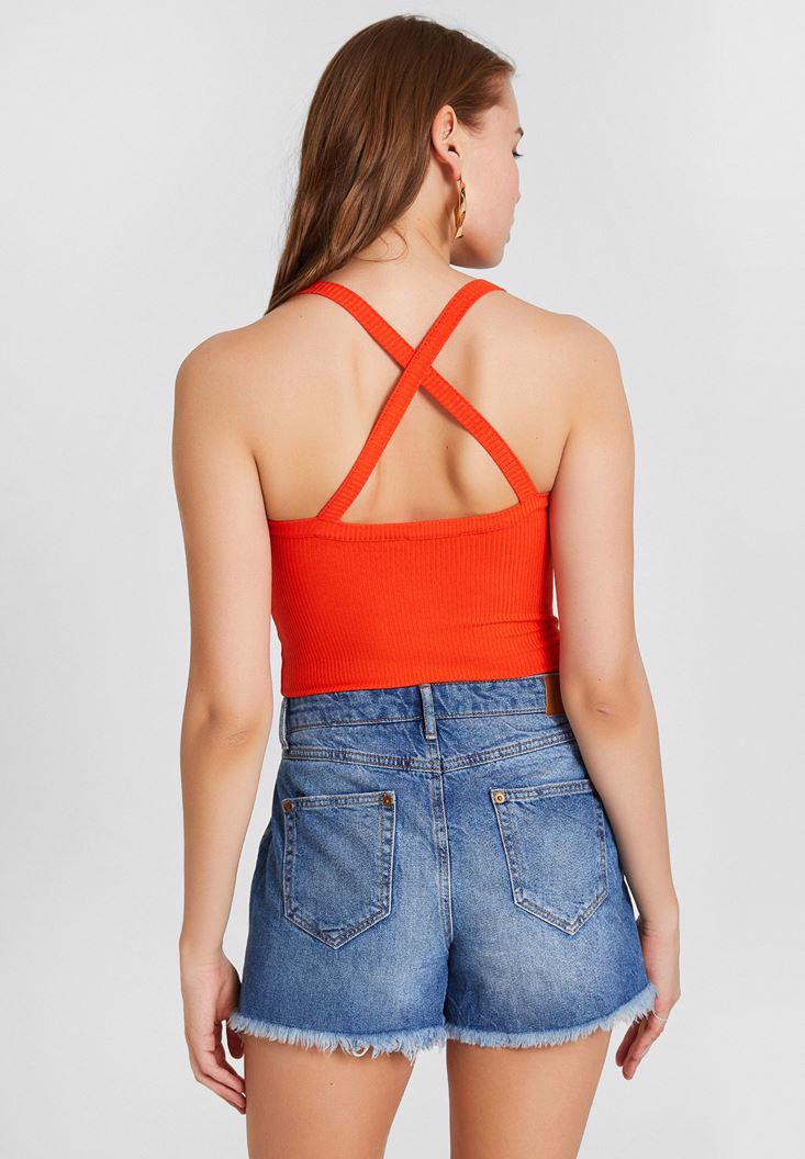 Women Red Blouse with Cross Linked