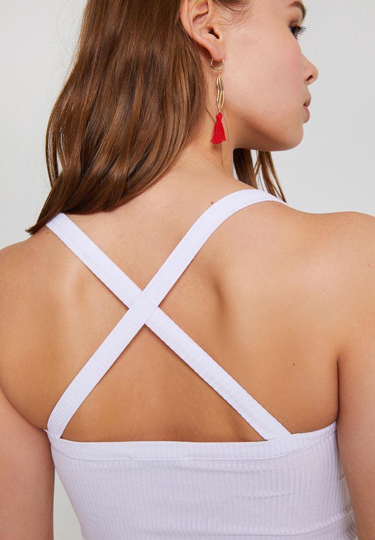 Bayan Beyaz Sırtı Çapraz Askılı Bluz