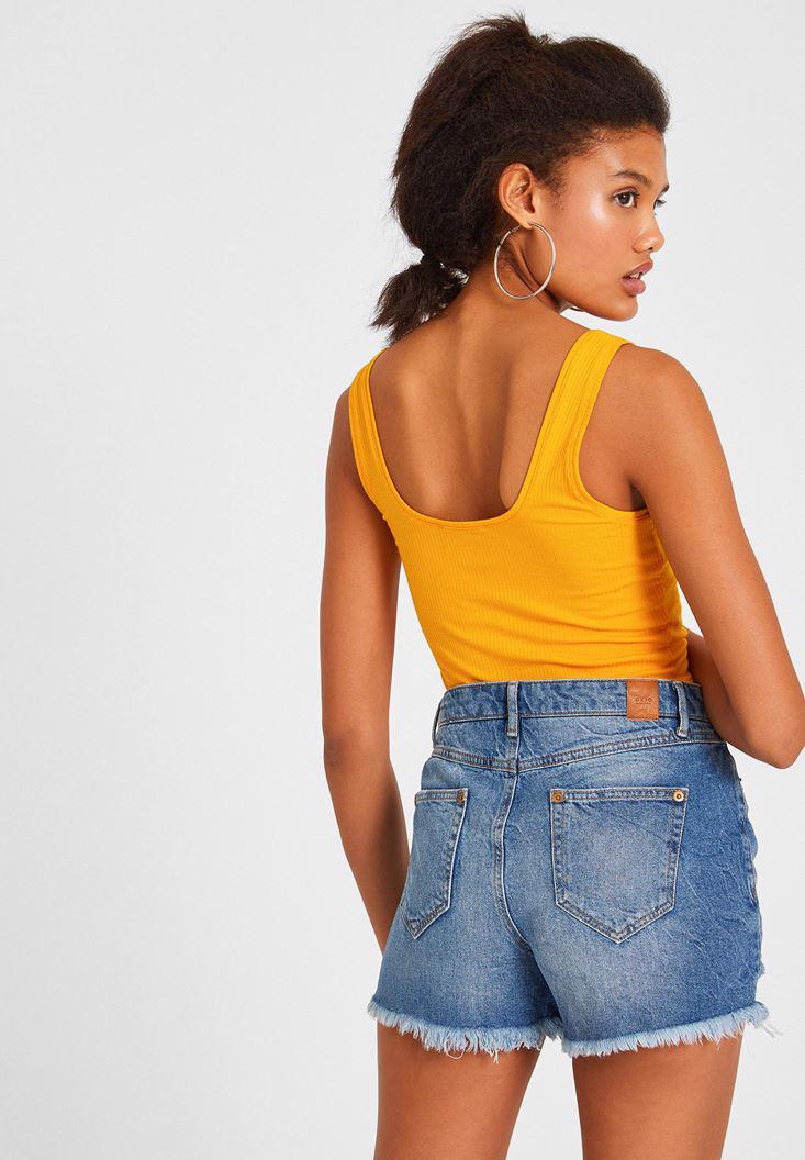 Women Yellow Tank with Neck Details