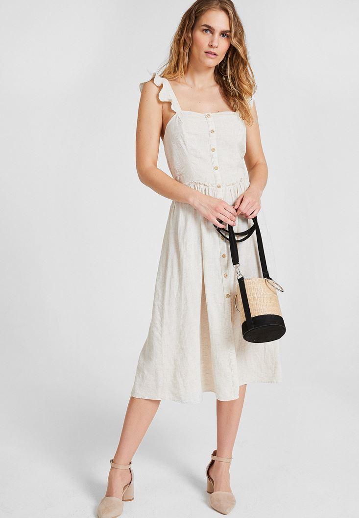 Krem Fırfır Detaylı Keten Elbise