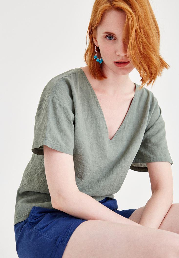 Yeşil Sırt Detaylı Keten Bluz