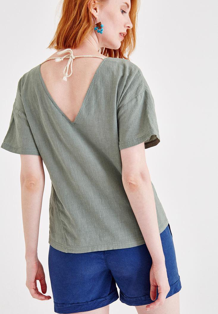 Bayan Yeşil Sırt Detaylı Keten Bluz