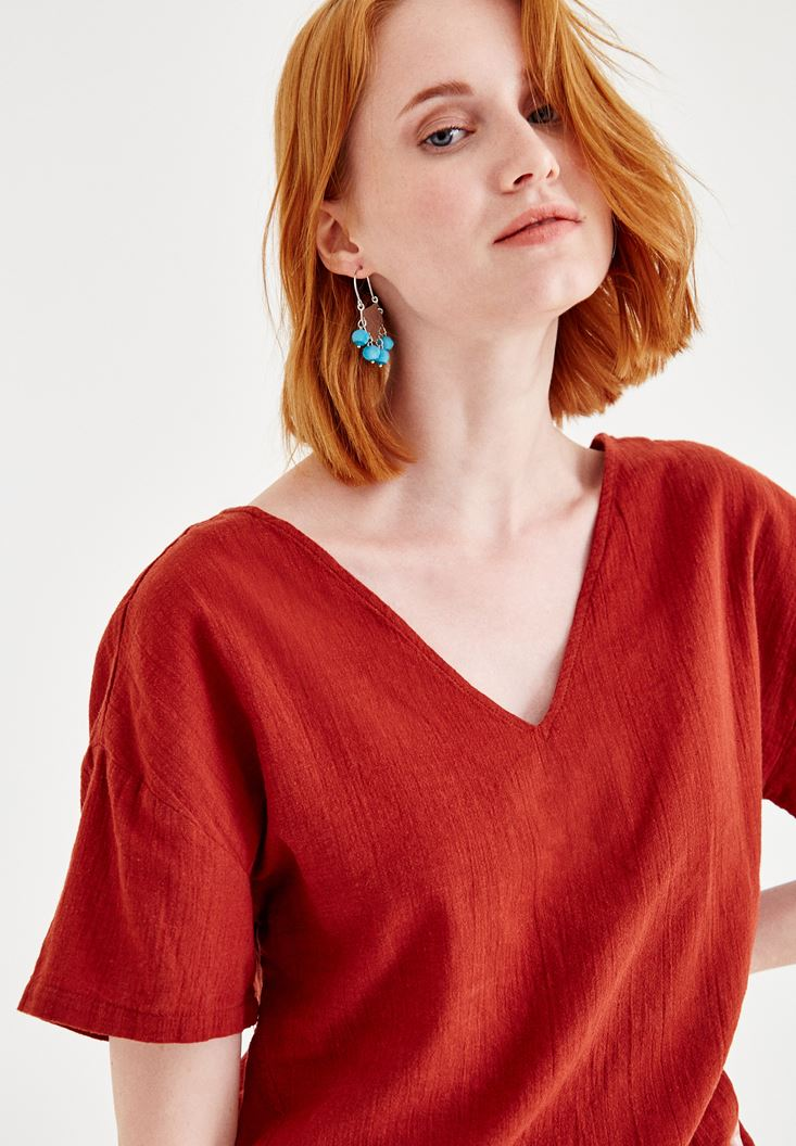 Bordeaux Linen Blouse with Back Details