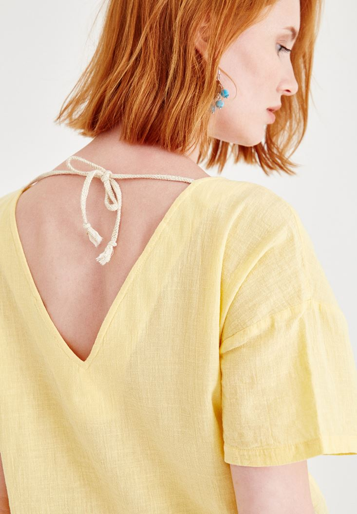 Yellow Linen Blouse with Back Details
