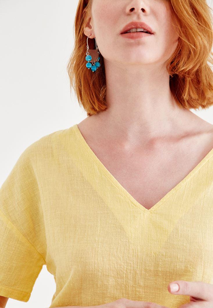 Bayan Sarı Sırt Detaylı Keten Bluz