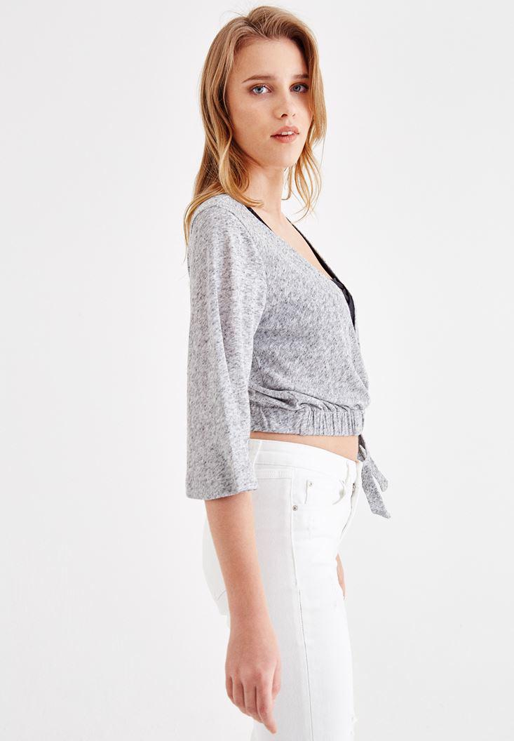 Women Grey Double Breasted Blouse with Binding Details