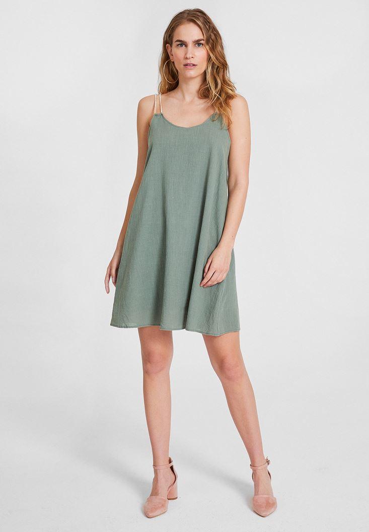 Yeşil Çift Askılı Elbise