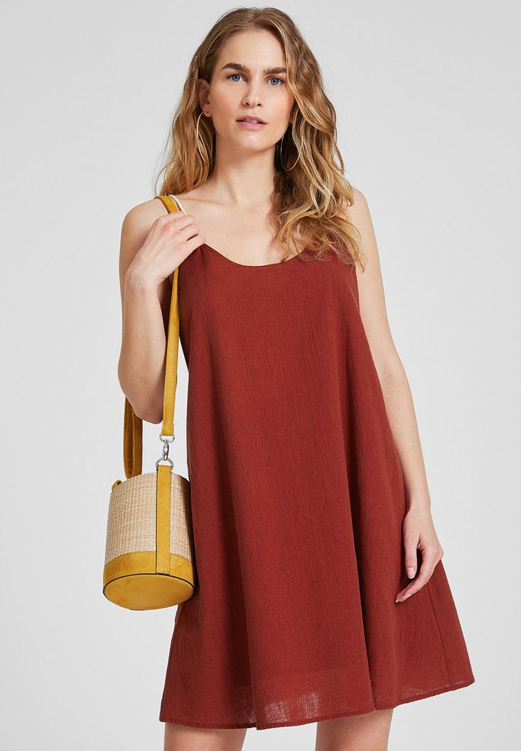 Bayan Bordo Çift Askılı Elbise