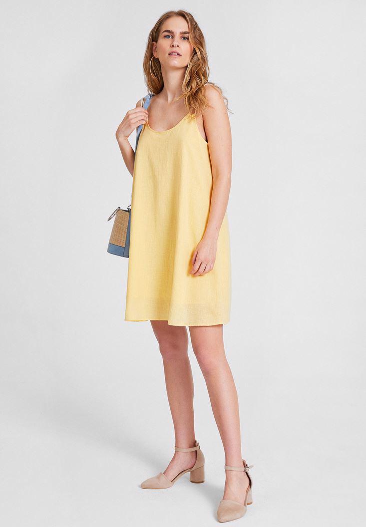 Bayan Sarı Çift Askılı Elbise