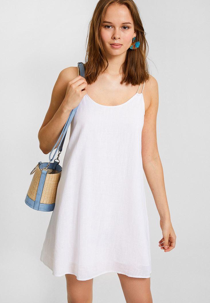 Beyaz Çift Askılı Elbise