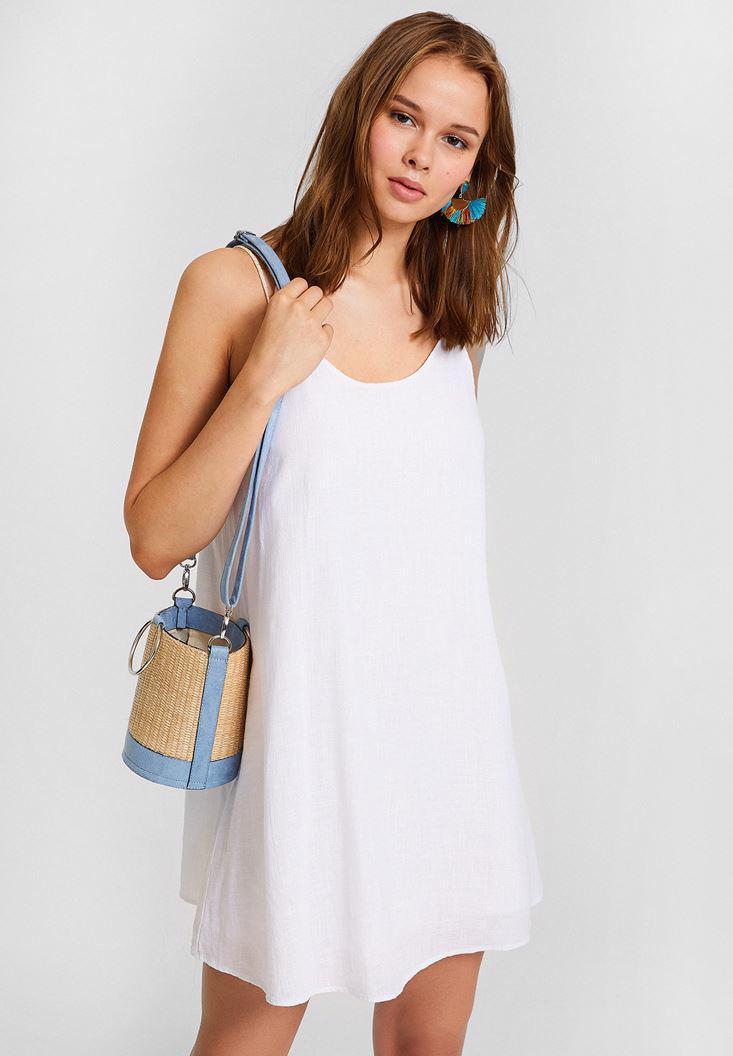 Bayan Beyaz Çift Askılı Elbise