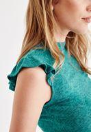 Bayan Yeşil Omuzları Fırfırlı Bluz