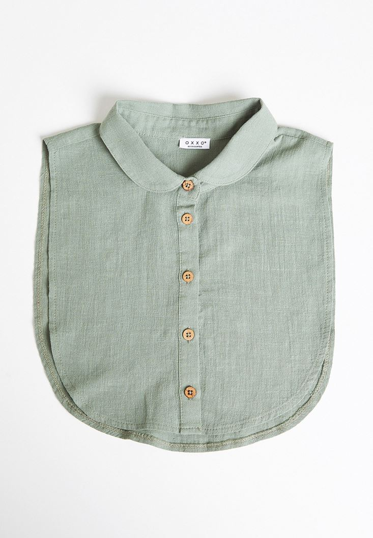 Green Linen Neck with Buttons