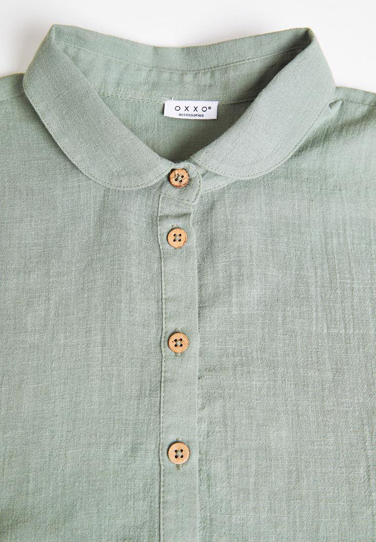 Women Green Linen Neck with Buttons